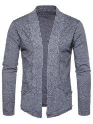 Pockets Knitted Open Front Cardigan -