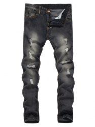 Straight Leg Bleached Effect Distressed Jeans - BLACK M