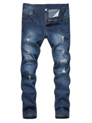 Straight Leg Bleached Effect Distressed Jeans - DENIM BLUE 2XL