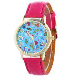 Christmas Theme Face Quartz Watch -