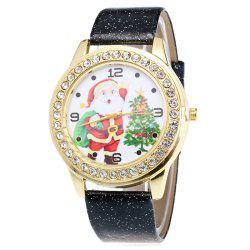 Glitter Strap Christmas Santa Tree Face Watch -