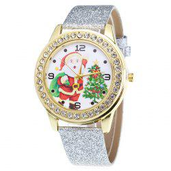 Glitter Strap Christmas Santa Tree Face Watch - SILVER