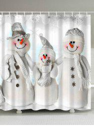 Waterproof Polyester Christmas Snowman Bath Curtain -