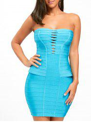 Hollow Out Strapless Bandage Dress - BLUE M