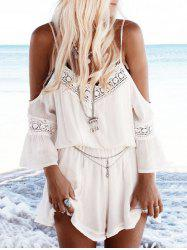 Cold Shoulder Lace Insert Casual Romper - Blanc S