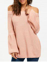 Raglan Puff Sleeve Off The Shoulder Chunky Sweater -