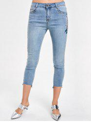 Pantalons Capri Faded Brodés - Denim Bleu 2XL