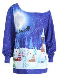 Christmas Evening Printed Plus Size Skew Neck Sweatshirt - BLUE 3XL