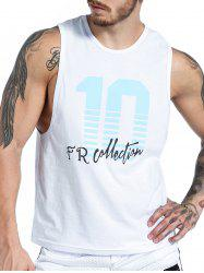 Number Graphic Print Tank Top - WHITE XL