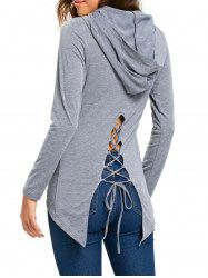 High Low Lace Up Hooded Tunic T-shirt -
