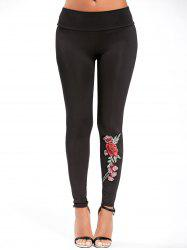 High Waisted Embroidered Leggings -