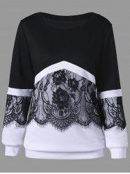 Plus Size Two Tone Eyelash Lace Trim Sweatshirt -
