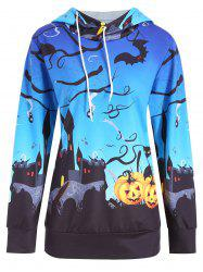 Halloween Castle Pumpkin Print Plus Size Hoodie -