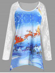 Plus Size Christmas Santa Claus Elk Lace Tee -