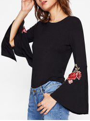 Split Bell Sleeve Embroidered T-shirt -