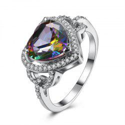 Faux Gemstone Sparkly Heart Finger Ring -