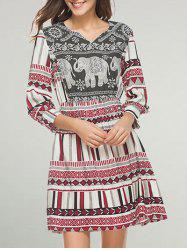 A Line Tribal Print Casual Dress -