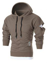 Distressed Sleeve Graphic Patch Pullover Hoodie -