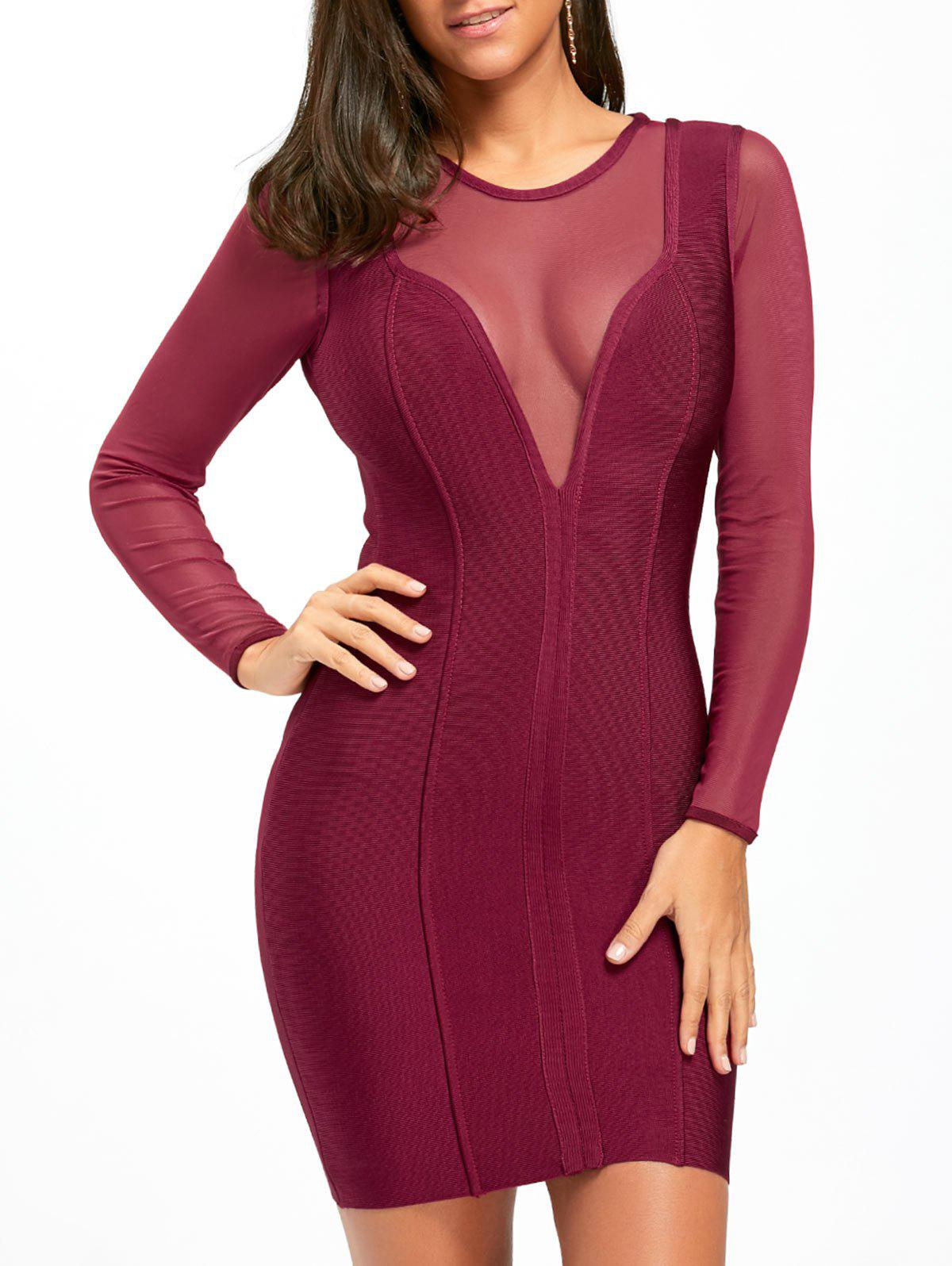 Affordable Mesh Panel Sheer Long Sleeve Bandage Dress