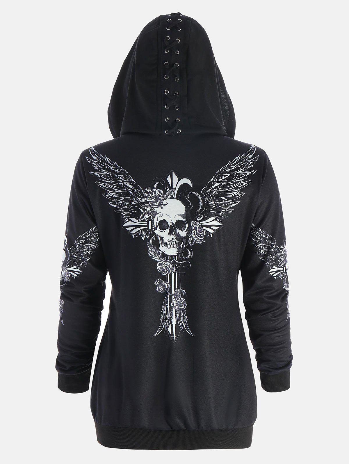 Halloween Skull Wings Print Zip Up HoodieWOMEN<br><br>Size: L; Color: BLACK; Material: Polyester; Shirt Length: Regular; Sleeve Length: Full; Style: Punk; Pattern Style: Print,Skulls; Embellishment: Criss-Cross; Season: Fall,Spring,Winter; Weight: 0.5200kg; Package Contents: 1 x Hoodie;