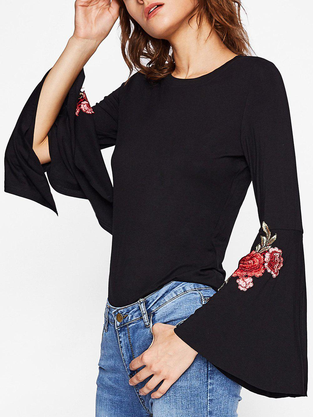 Outfit Split Bell Sleeve Embroidered T-shirt