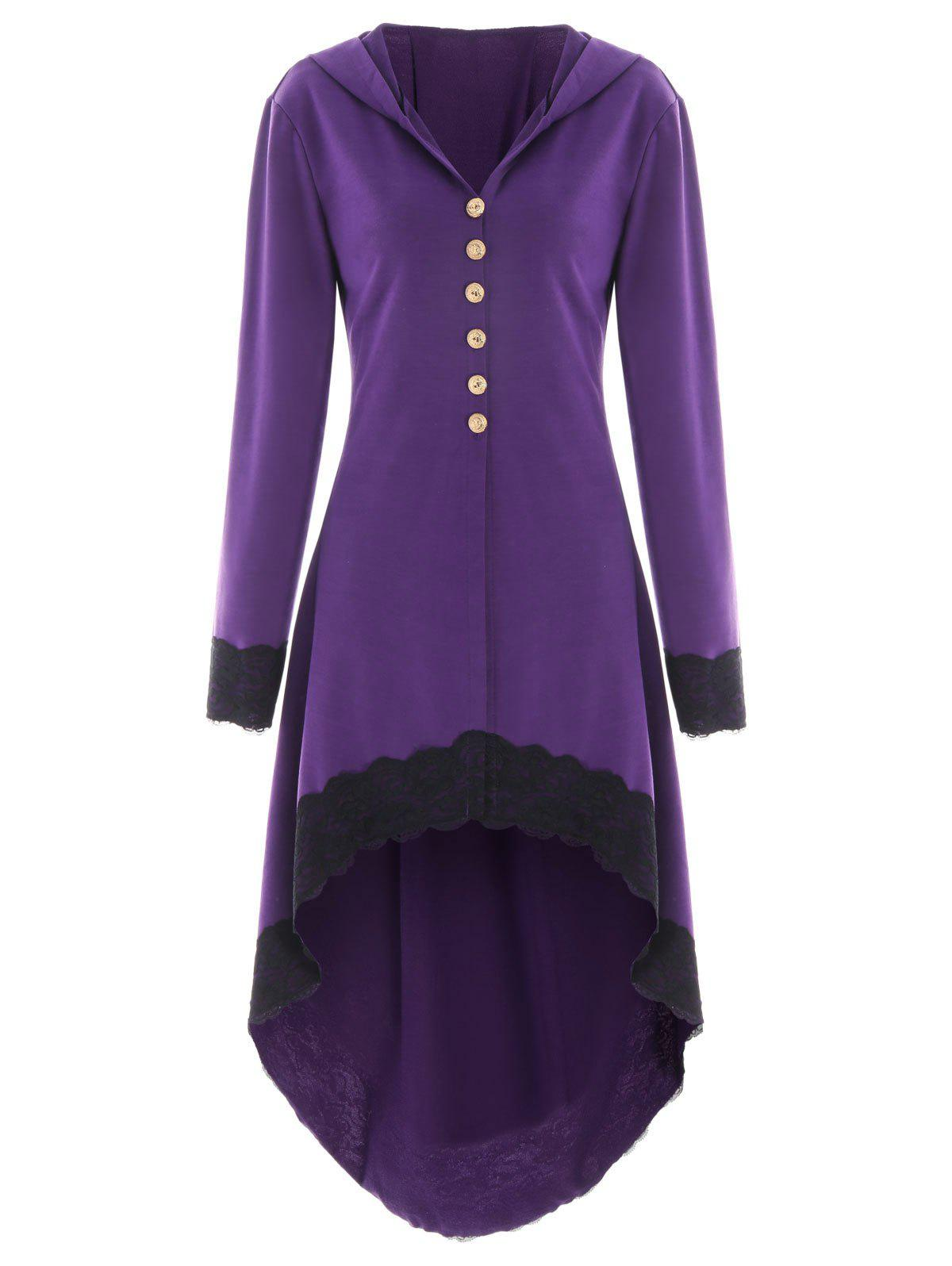 Hooded Lace Insert Lace-up High Low CoatWOMEN<br><br>Size: M; Color: PURPLE; Clothes Type: Others; Material: Polyester,Spandex; Type: Asymmetric Length; Shirt Length: Long; Sleeve Length: Full; Collar: Hooded; Pattern Type: Others; Style: Fashion; Season: Fall,Spring; Weight: 0.6050kg; Package Contents: 1 x Coat;