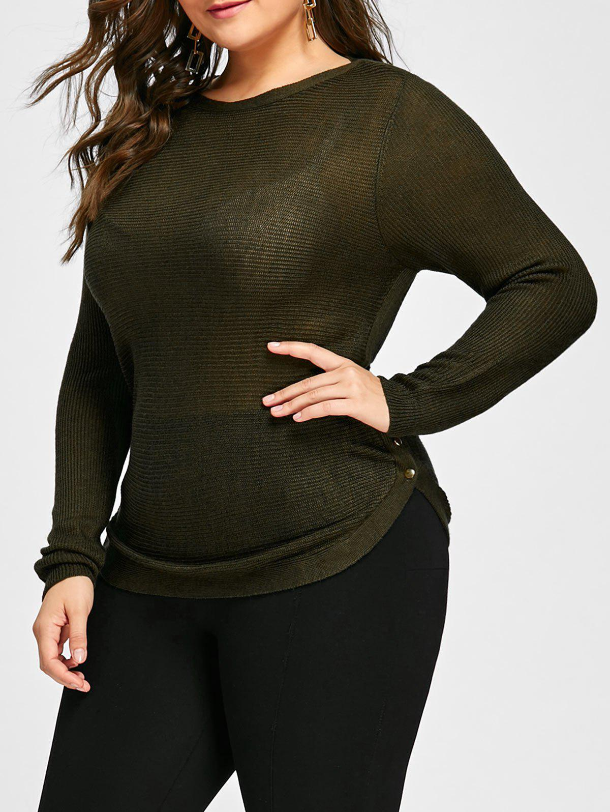 Online Knit Plus Size Button Embellished Sheer Sweater