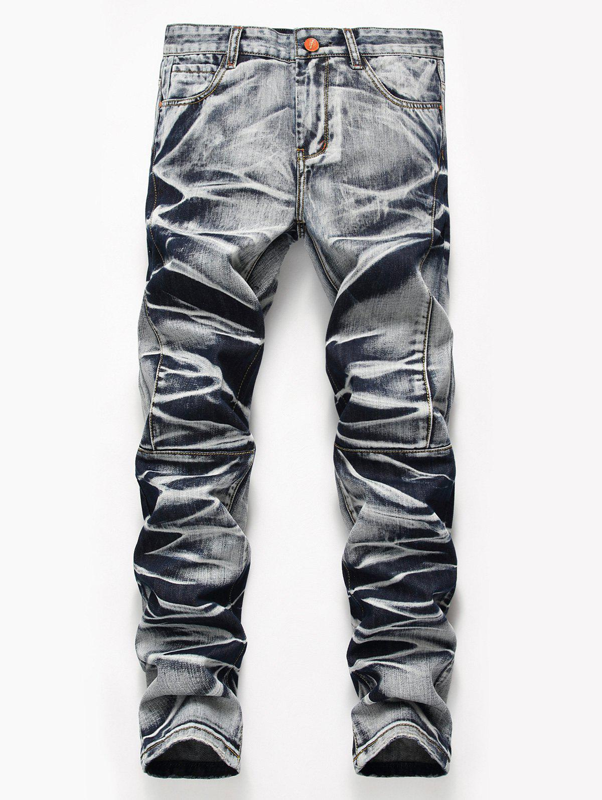 Tie Dye Zip Fly Straight JeansMEN<br><br>Size: 40; Color: COLORMIX; Material: Cotton,Polyester; Pant Length: Long Pants; Wash: Medium; Fit Type: Regular; Waist Type: Mid; Closure Type: Zipper Fly; Weight: 0.7300kg; Pant Style: Straight; Package Contents: 1 x Jeans; With Belt: No;
