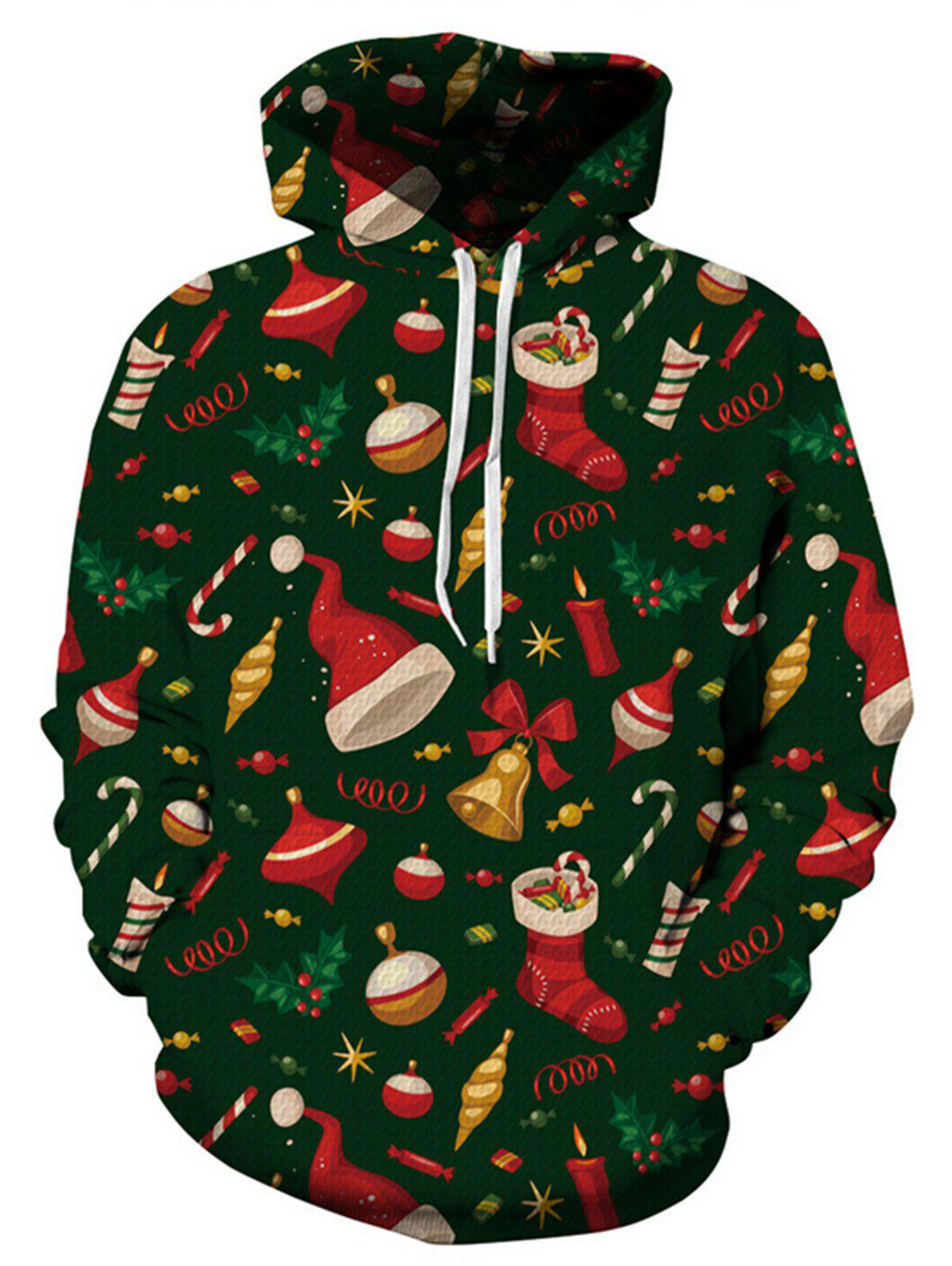 Christmas Decoration Print Plus Size Drawstring HoodieWOMEN<br><br>Size: 3XL; Color: BLACKISH GREEN; Material: Polyester,Spandex; Shirt Length: Regular; Sleeve Length: Full; Style: Fashion; Pattern Style: Print; Elasticity: Elastic; Season: Fall,Spring,Winter; Weight: 0.5000kg; Package Contents: 1 x Hoodie;