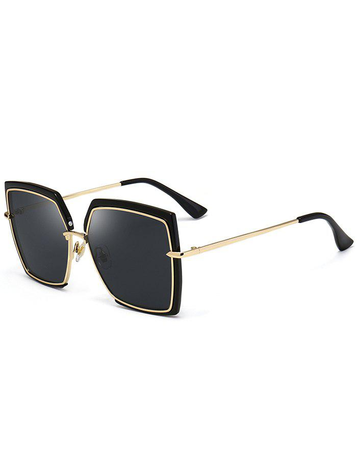 Vintage Metal Full Frame Oversized Square Sunglasses, Black