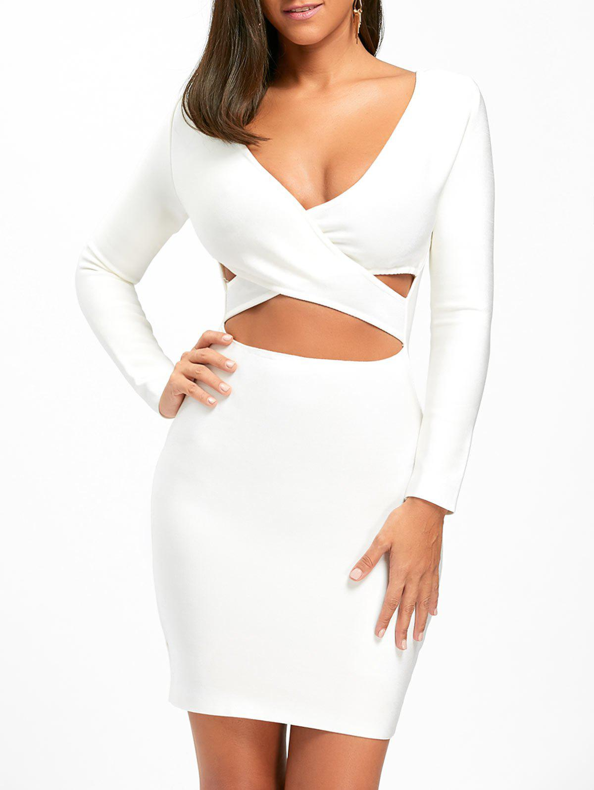 Fancy Long Sleeve Bodycon Cut Out Front Bandage Dress