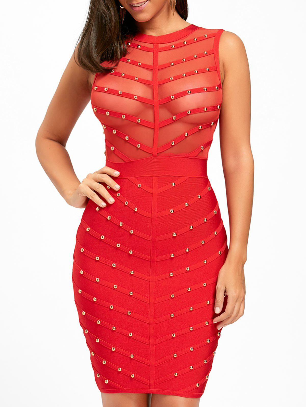 Buy Mesh Insert Studded Sleeveless Bandage Dress