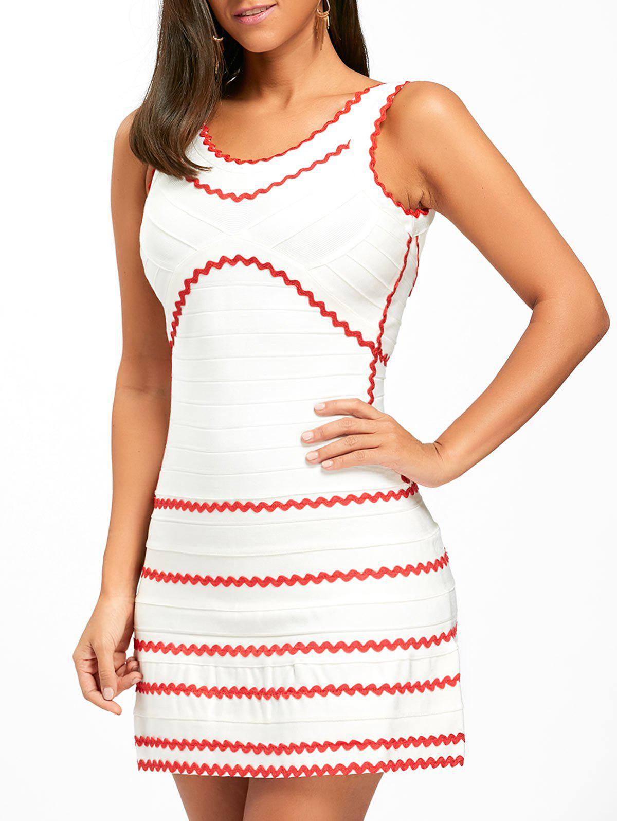 Unique A-line Contrast Wavy Stripe Bandage Dress