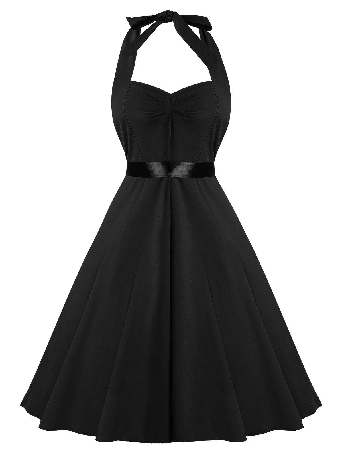 Unique Vintage Fit and Flare Halter Dress a290d7057a15