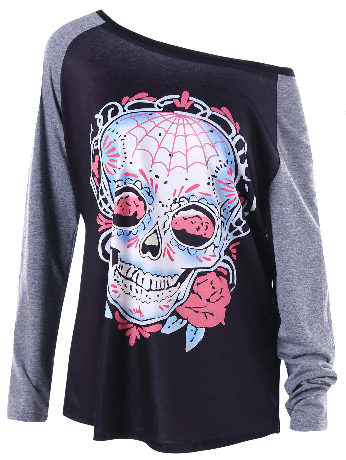 Halloween Plus Size Raglan Sleeve Skull T-shirtWOMEN<br><br>Size: XL; Color: DARK GREY; Material: Polyester,Spandex; Shirt Length: Long; Sleeve Length: Full; Collar: Skew Collar; Style: Casual; Season: Fall,Spring; Pattern Type: Skulls; Weight: 0.2600kg; Package Contents: 1 x T-shirt;