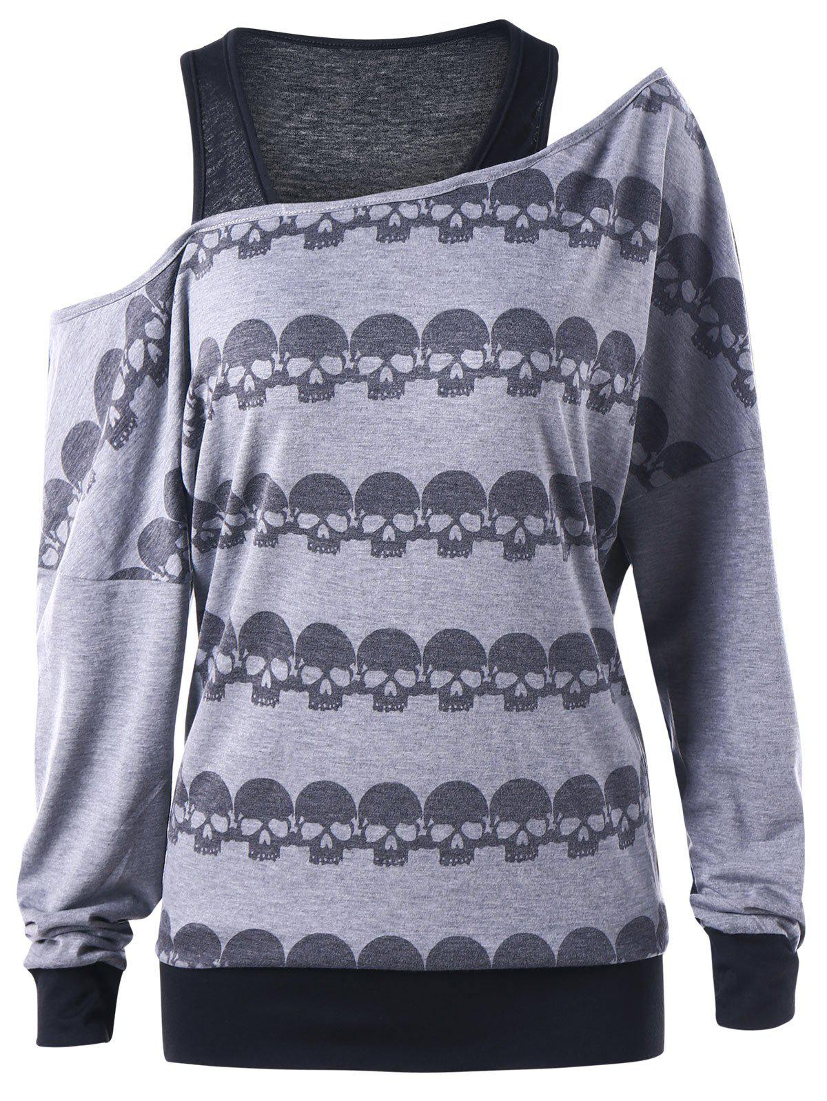 Halloween Skew Neck Skulls SweatshirtWOMEN<br><br>Size: M; Color: BLACK AND GREY; Material: Polyester,Spandex; Shirt Length: Long; Sleeve Length: Full; Style: Casual; Pattern Style: Skulls; Season: Fall,Spring; Weight: 0.3000kg; Package Contents: 1 x Sweatshirt;