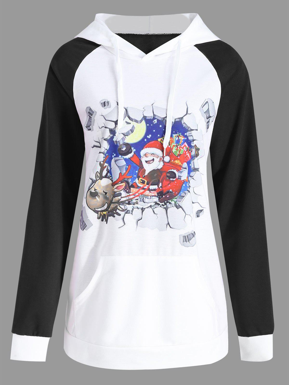 Plus Size Christmas Santa Claus Elk Print HoodieWOMEN<br><br>Size: 3XL; Color: BLACK; Material: Cotton,Polyester; Shirt Length: Regular; Sleeve Length: Full; Style: Fashion; Pattern Style: Animal,Moon,Others; Season: Fall; Weight: 0.3800kg; Package Contents: 1 x Hoodie;
