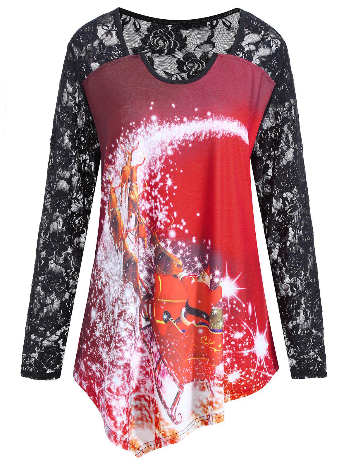 Christmas Santa Claus Plus Size Lace T-shirtWOMEN<br><br>Size: XL; Color: WINE RED; Material: Cotton,Polyester; Shirt Length: Long; Sleeve Length: Full; Collar: Round Neck; Style: Fashion; Season: Fall; Sleeve Type: Raglan Sleeve; Pattern Type: Print; Weight: 0.2400kg; Package Contents: 1 x T-shirt;