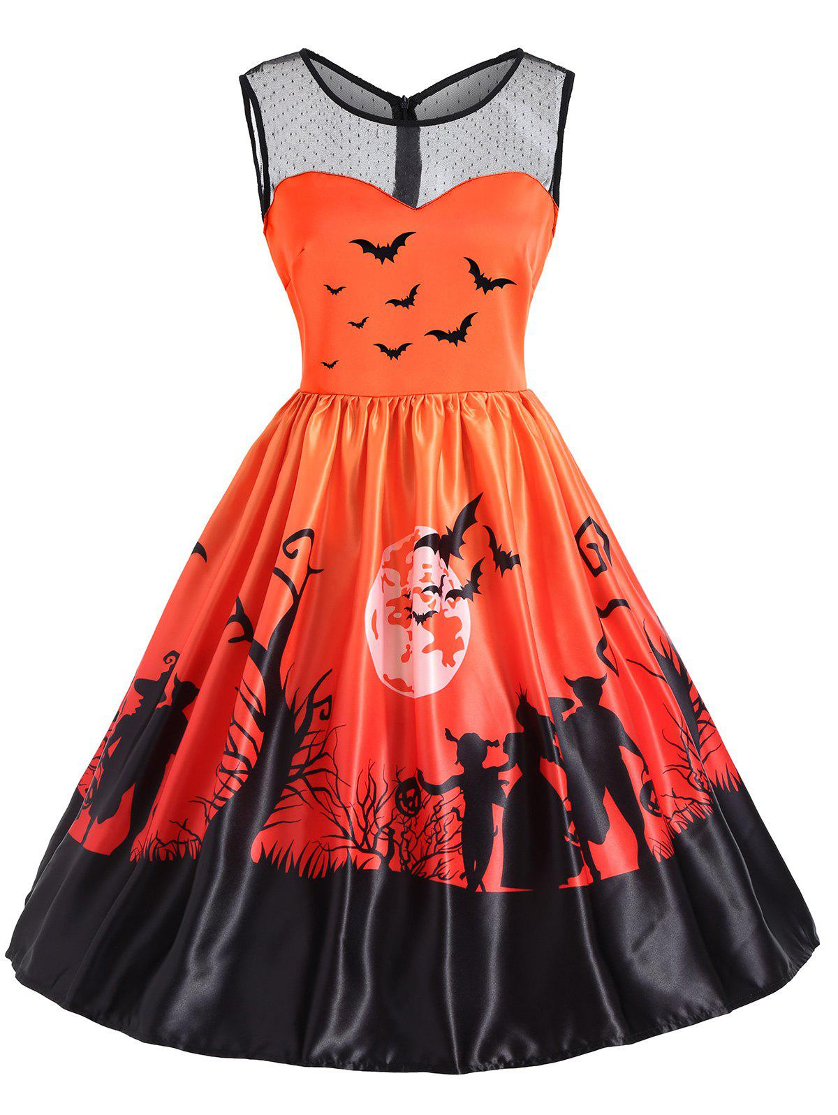 Mesh Yoke Halloween Bat Moon Print DressWOMEN<br><br>Size: S; Color: ORANGE; Style: Vintage; Material: Cotton,Polyester; Silhouette: A-Line; Dresses Length: Knee-Length; Neckline: Round Collar; Sleeve Length: Sleeveless; Embellishment: Mesh; Pattern Type: Ombre,Print; With Belt: No; Season: Fall,Spring,Summer; Weight: 0.3500kg; Package Contents: 1 x Dress;