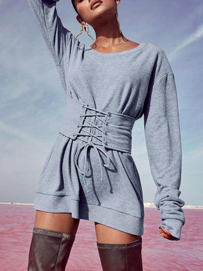 Store Sweatshirt Dress with Corset Belt