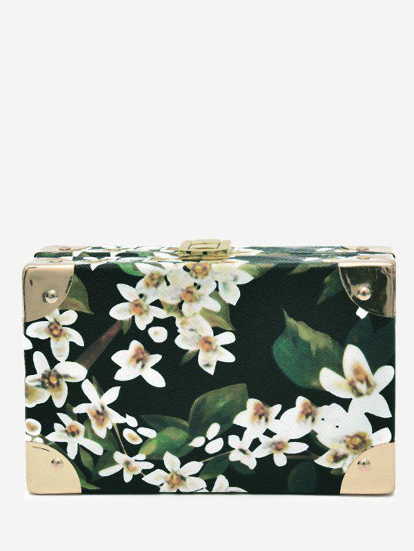 Latest Print Flower Metal Corner Crossbody Bag