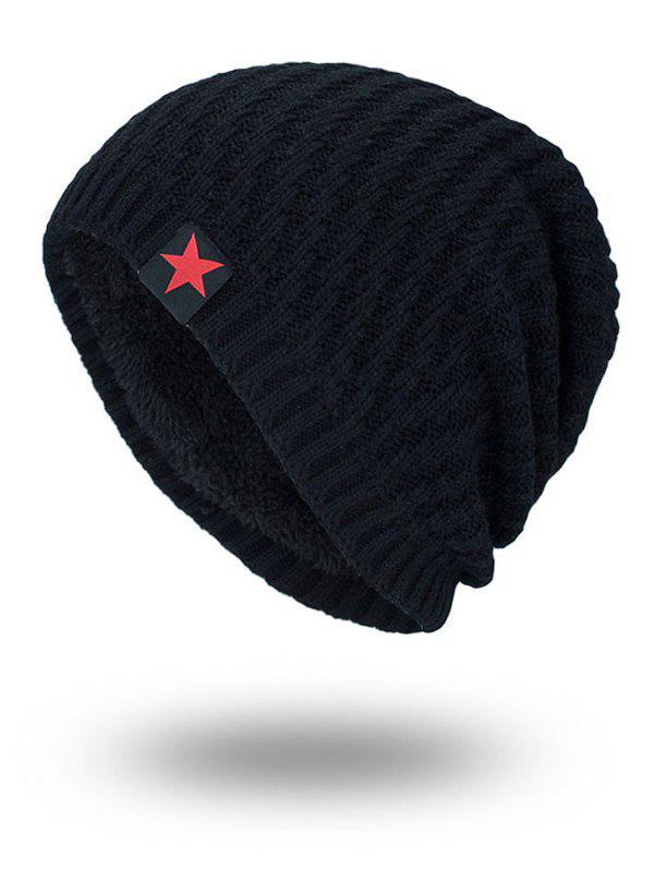 Star Label Embellished Stripy Thicken Knit HatACCESSORIES<br><br>Color: BLACK; Hat Type: Skullies Beanie; Group: Adult; Gender: For Men; Style: Fashion; Pattern Type: Solid; Material: Acrylic; Circumference (CM): 57CM; Weight: 0.1700kg; Package Contents: 1 x Hat;