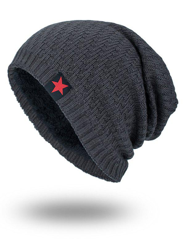 Star Label Embellished Stripy Thicken Knit HatACCESSORIES<br><br>Color: DEEP GRAY; Hat Type: Skullies Beanie; Group: Adult; Gender: For Men; Style: Fashion; Pattern Type: Solid; Material: Acrylic; Circumference (CM): 57CM; Weight: 0.1700kg; Package Contents: 1 x Hat;