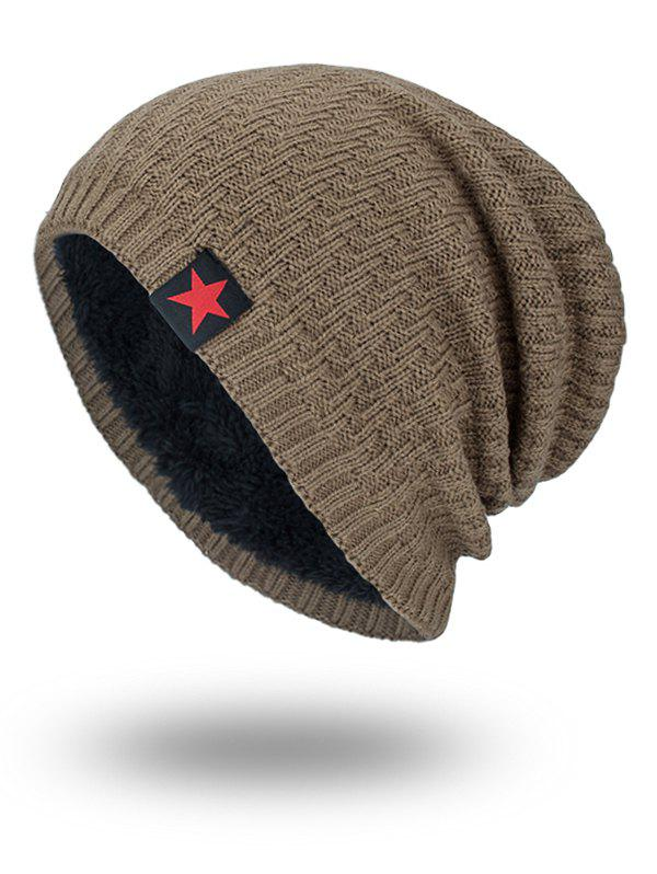 Star Label Embellished Stripy Thicken Knit HatACCESSORIES<br><br>Color: KHAKI; Hat Type: Skullies Beanie; Group: Adult; Gender: For Men; Style: Fashion; Pattern Type: Solid; Material: Acrylic; Circumference (CM): 57CM; Weight: 0.1700kg; Package Contents: 1 x Hat;
