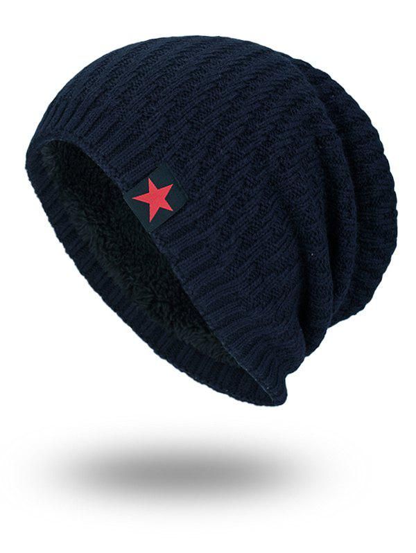 Discount Star Label Embellished Stripy Thicken Knit Hat