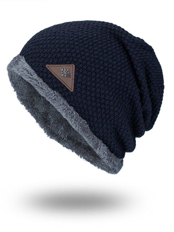 Unique Triangle Label Embellished Fluffy Panel Thicken Knit Hat