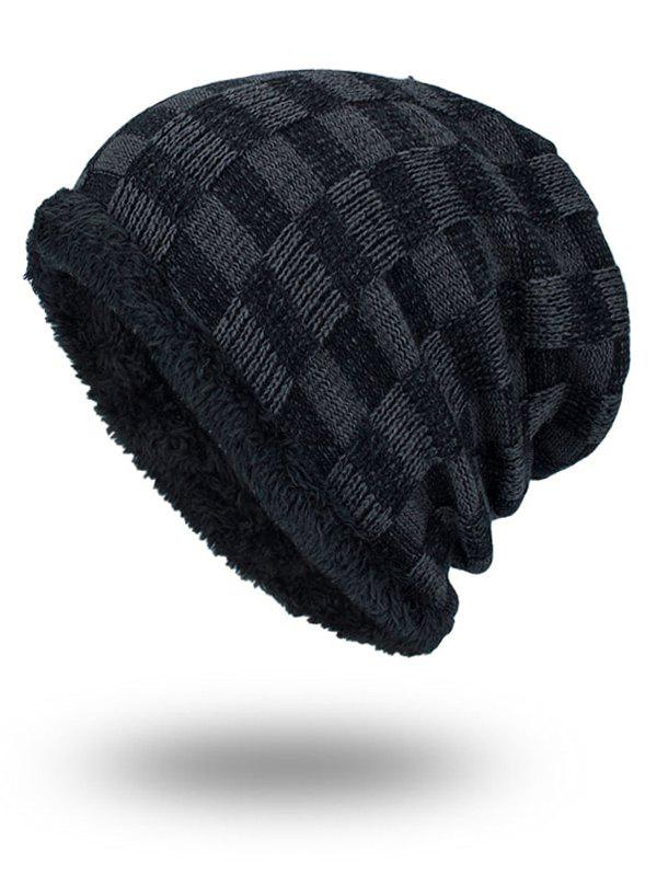 Latest Outdoor Checked Pattern Velvet Slouchy Beanie