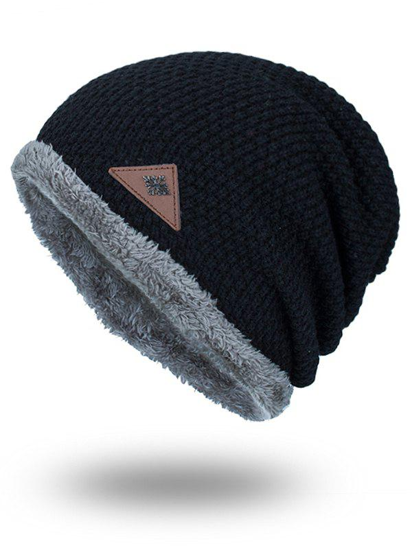 Triangle Label Embellished Fluffy Panel Thicken Knit HatACCESSORIES<br><br>Color: BLACK; Hat Type: Skullies Beanie; Group: Adult; Gender: For Men; Style: Fashion; Pattern Type: Solid; Material: Acrylic; Circumference (CM): 57CM; Weight: 0.1700kg; Package Contents: 1 x Hat;