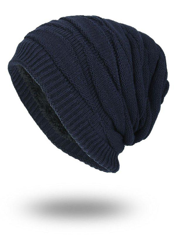 Soft Stacking Stripe Baggy Knitted BeanieACCESSORIES<br><br>Color: PURPLISH BLUE; Hat Type: Skullies Beanie; Group: Adult; Gender: For Men; Style: Fashion; Pattern Type: Striped; Material: Acrylic; Circumference (CM): 57CM; Weight: 0.1500kg; Package Contents: 1 x Hat;