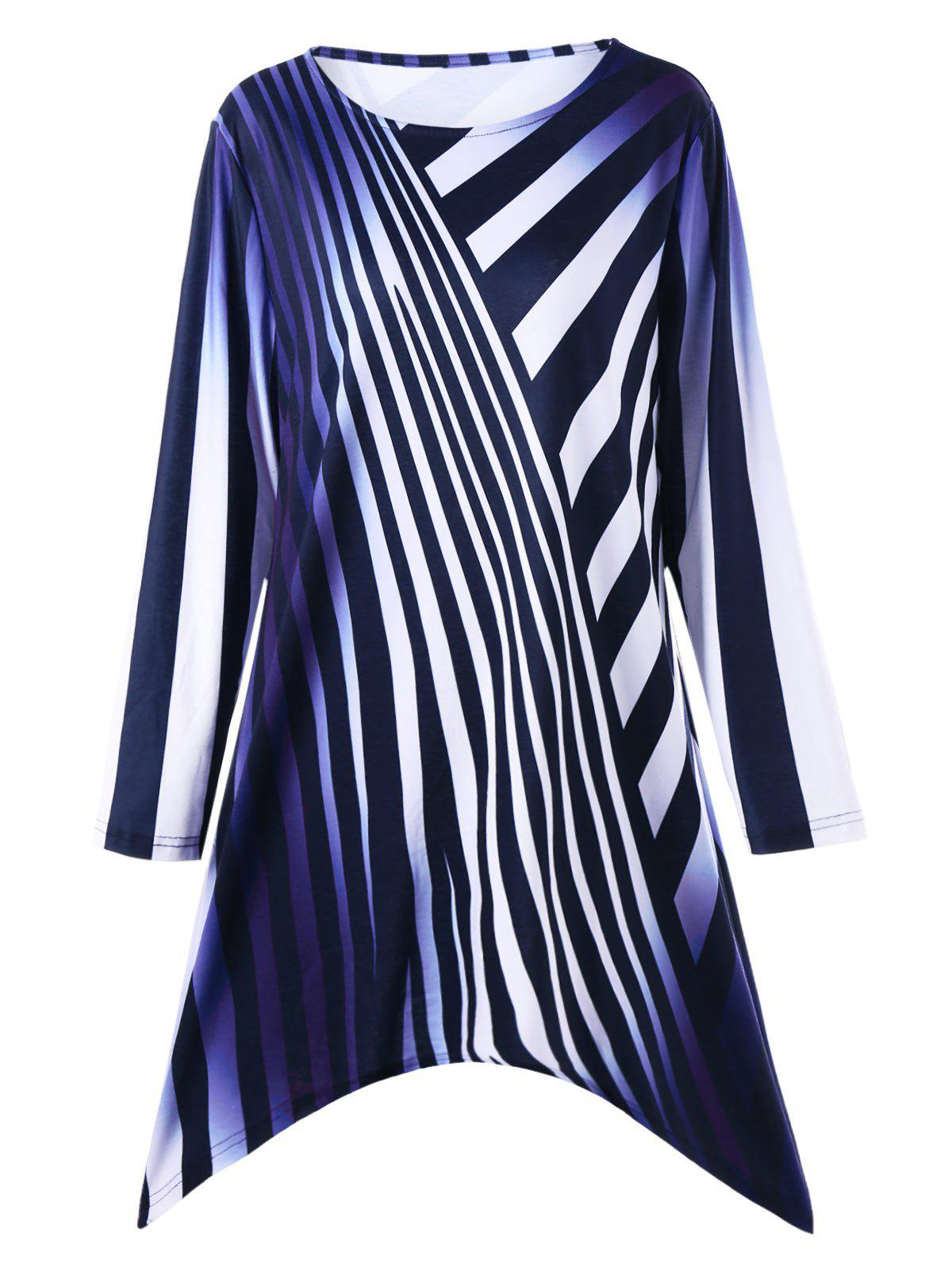 Plus Size Ombre Striped Longline T-shirtWOMEN<br><br>Size: 4XL; Color: BLUE; Material: Polyester,Spandex; Shirt Length: Long; Sleeve Length: Full; Collar: Round Neck; Style: Casual; Season: Fall,Spring; Pattern Type: Striped; Weight: 0.3300kg; Package Contents: 1 x Top;
